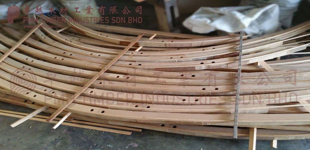 Curve timber railing